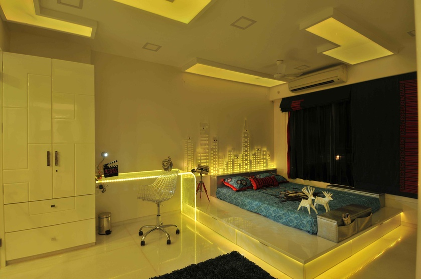 Bedroom in Yellow Neon Light