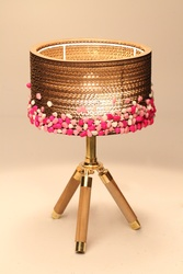 Sustainable Handmade Sylvn Studio Stony Barrel Tripod Pink Lamp