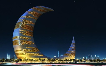 Night view - 3D - Crescent Moon Tower