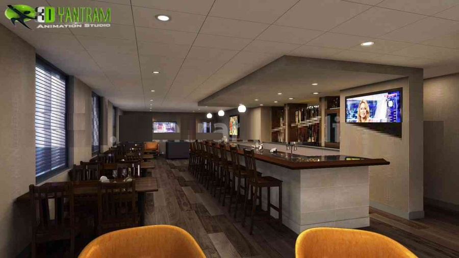Restaurant Lounge And Bar View Interior Design Rendering Dining Hall Room ideas