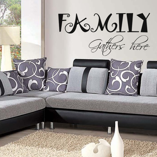 Family Gathers here Wall Decal ( KC398 )