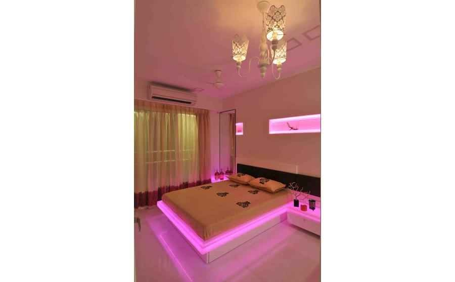 Bedroom in Pink Lighting