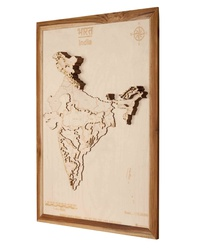 India 3D Wooden Map