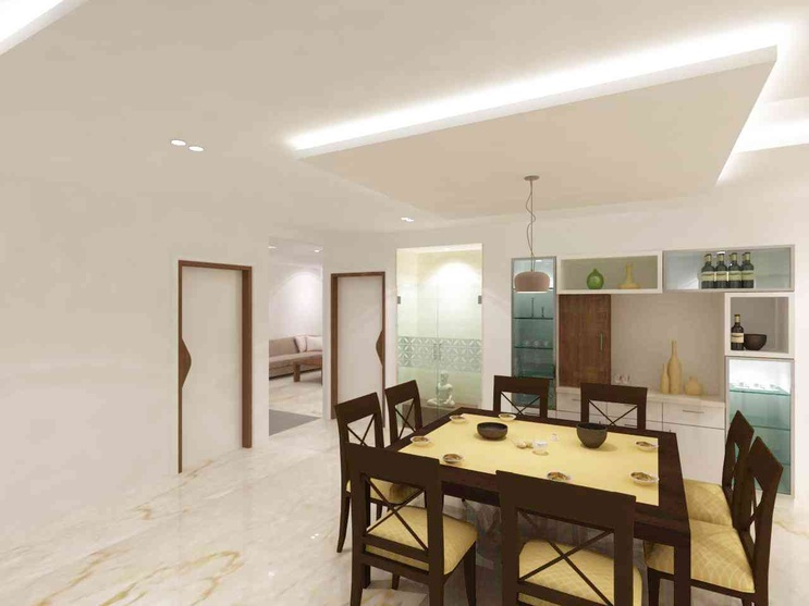 The Dining Area is combined with space for Puja and Crockery
