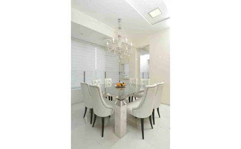 White Dining Room with Squared Dining Table