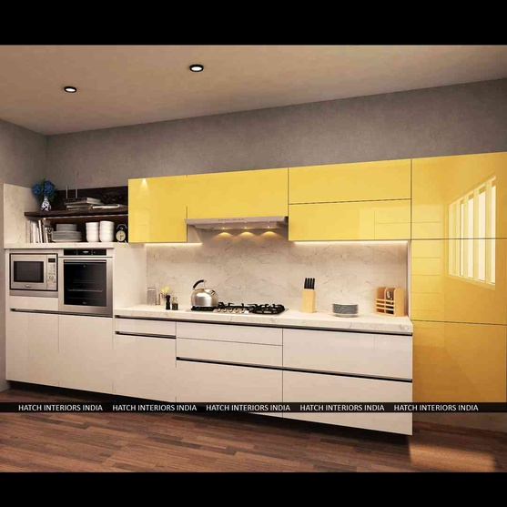 hi gloss and laminate modular kitchen by tarandeep kaur interior