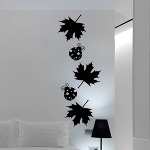 Maple Leaves and Ladybugs Wall Decal