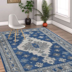 Hand Tufted Oracle Traditional Area Rug 5'x 8' (Indigo Blue) For Living/Drawing/Bedroom