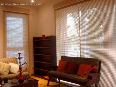 Woven Wood Blinds inside the Living Room