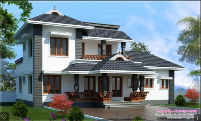 Roof designs kerala style sloped pitched roofs terrace for Pitched roof design plans