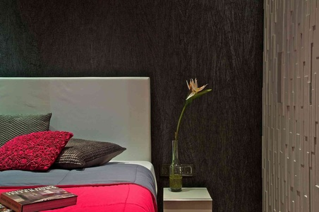 Bedside corner with stunning Silk Pink covers and beautiful flower by the bed.