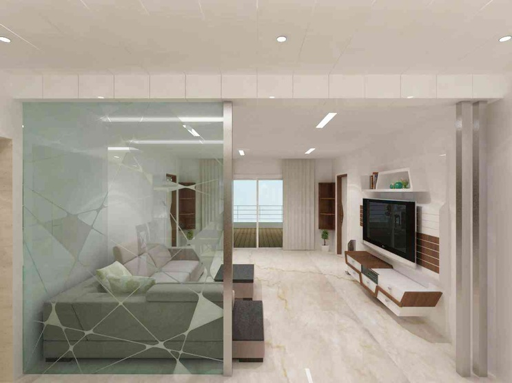Flat trident towers by samanth gowda architect in - Partition designs for living room ...