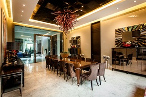 Luxurious Dining Hall with Decorative Ceiling