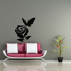 Rose and Butterfly Wall Decal ( KC297 )
