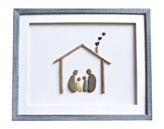 pebble art photo frame