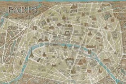 Monuments of Paris Map Blue Poster