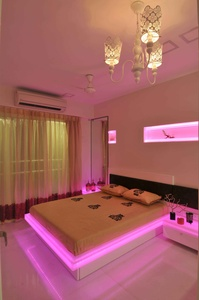 Modern White Bedroom in Pink Neon Light