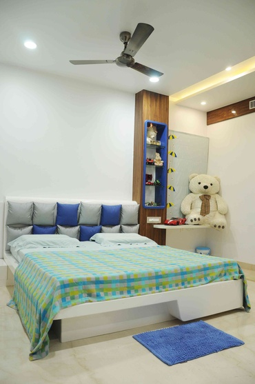 Villa koncept ambience by samanth gowda architect in for Bedroom wallpaper designs india