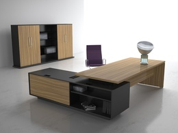 Manager Cabin – Wooden Table, Cabinets
