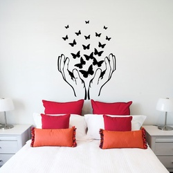 Hands and Butterfly Wall Decal ( KC309 )