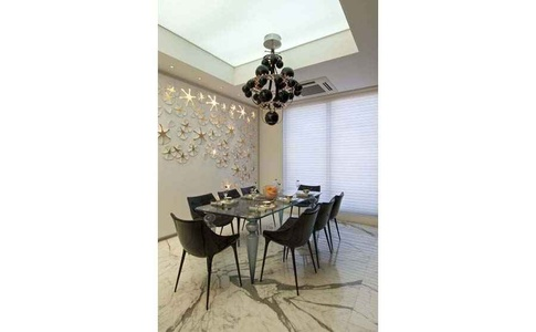 Dining Room with Swanky Chandelier
