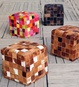 Promenade Cube Textured leather Poufs