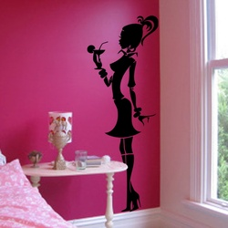 Cocktail Girl Wall Decal ( KC088 )