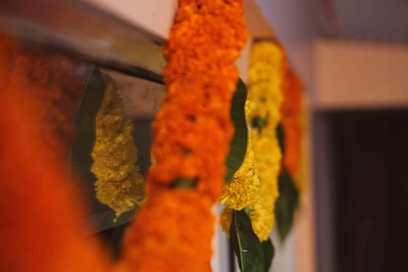 Door, Entrance, House entrance, Flower, Decoration, Diwali