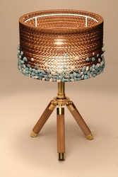 Sustainable Handmade Sylvn Studio Stony Barrel Tripod Blue Lamp