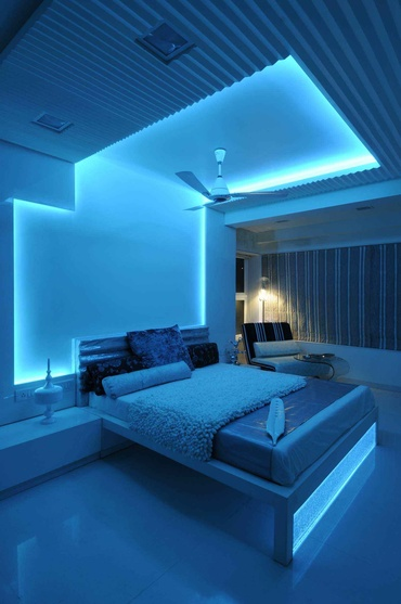Modern Bedroom in Blue Light