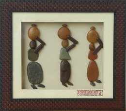Villagers with Pots –Framed Natural Pebble Stone Wall Art