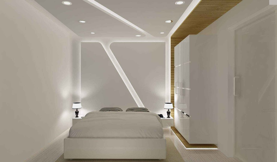 White Bedroom with white wardrobe