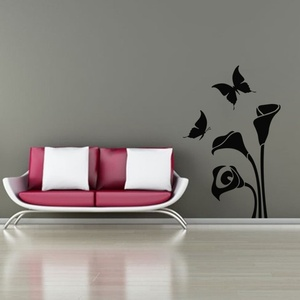 Butterflies and Arum Flower Wall Decal ( KC302 )