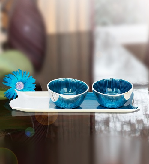 Half N Half Tray with Two Bowls (Blue)