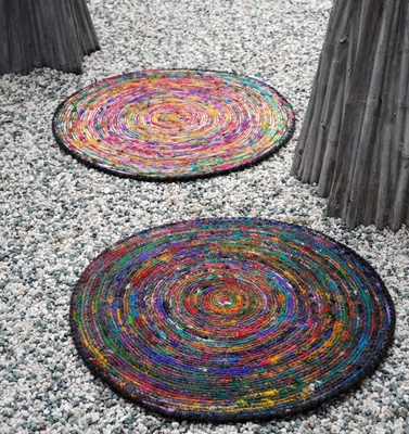 Silk Lane Round Recycled Silk Rugs