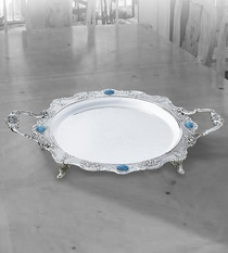 Tray Round with Turquoise-Stones