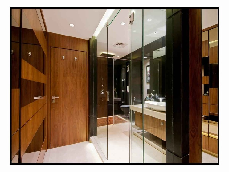 The Glass Doors Of The Bathroom