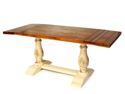 Antique-Look Vintage Dining Table Mix of French and Industrial Design