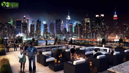 Roof top Design Ideas Evening Scene