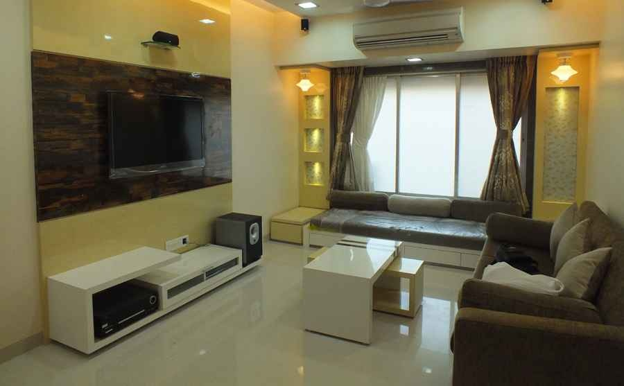 Moon apartment by musaddique shaikh interior designer in for Living room interiors for small flat