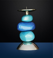 Online Candle Stand Marble (Blue)