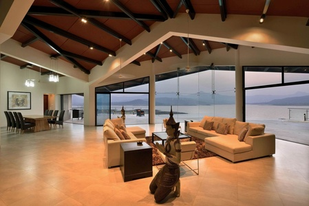 Living Room with Glass Windows