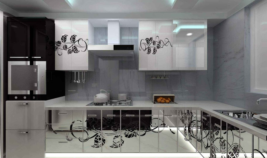 Black and White Kitchen with Mirrored Shutters