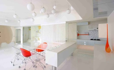 White Modern Kitchen cum Dining Area