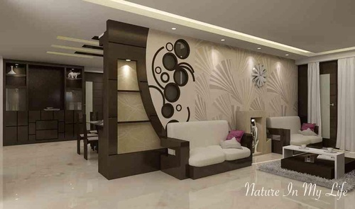 Modern living room with modern furniture and modern wall decor