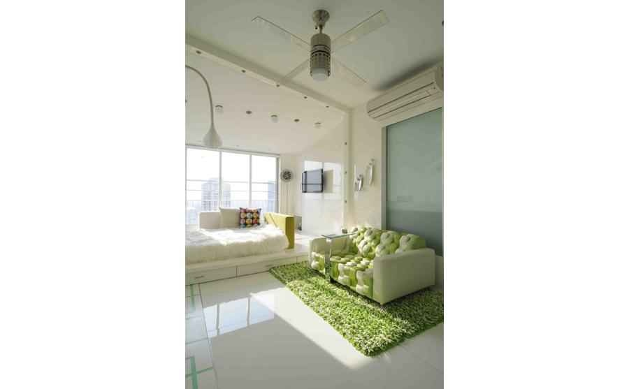 White and Green Modern Bedroom
