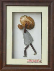 A Person Carrying Heavy Load – Natural Pebble Stone Wall Art
