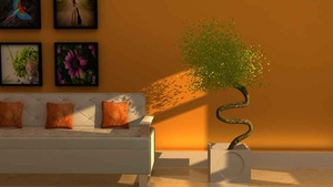 Living Room with Yellow Wall