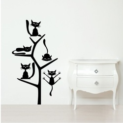 Cats on the Tree Wall Decal ( KC193 )