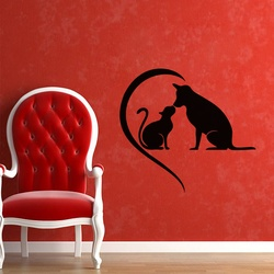 Dog and Cat Love Wall Decal ( KC322 )